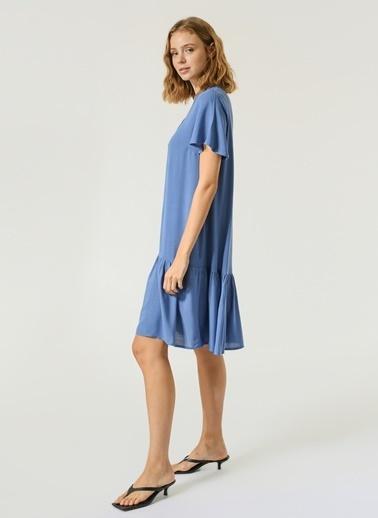 NGSTYLE Kadın Düğme Detaylı Volanlı Elbise NGKSS21EL0072 Mavi